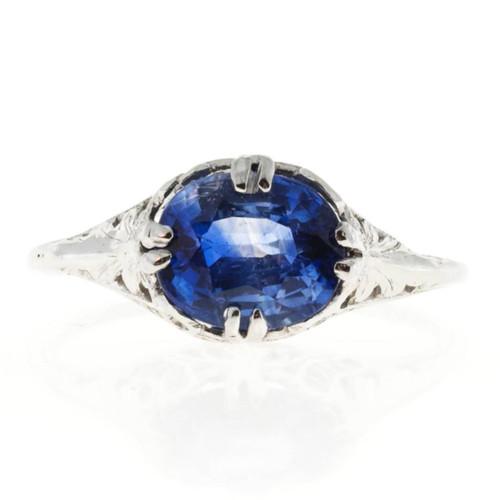 Vintage Engagement Ring 1.77ct European Cut Oval Sapphire 14k White Gold Deco