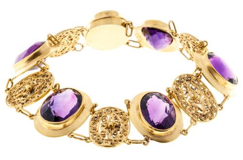 Victorian  27.00 Carat Amethyst Yellow Gold Bracelet