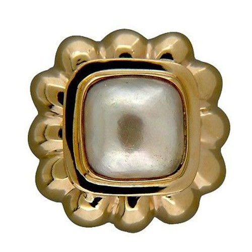 Vitnage Designer Ma 14k Gold Shrimp Style 11mm Silvery Grey Mobe Pearl Ring