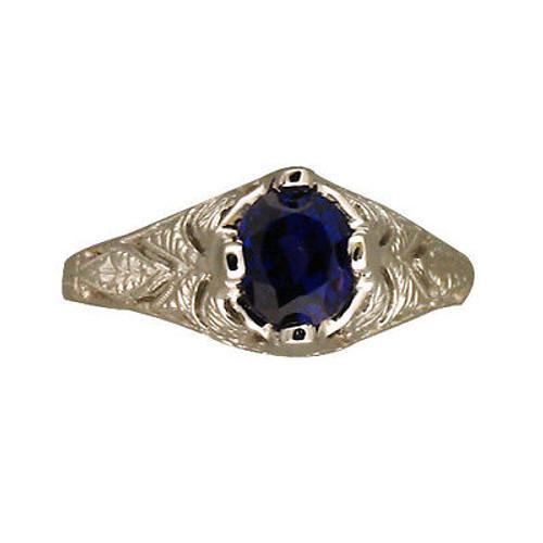 Vintage 1925 Pierced Engraved Color Change Oval Sapphire 1.62ct Platinum Ring