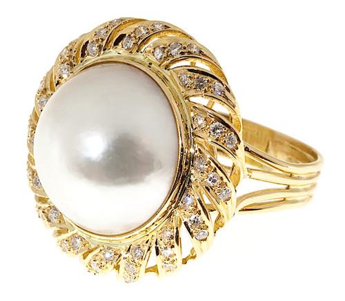 Vintage Estate Swirl 18k Yellow Gold 17mm Mobe Pearl .85ct Diamond Ring