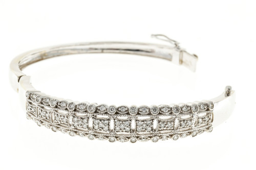 1.20 Carat Diamond White Gold Bangle Bracelet
