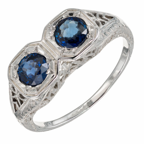 .90 Carat Double Round Sapphire Art Deco Gold Filigree Engagement Ring