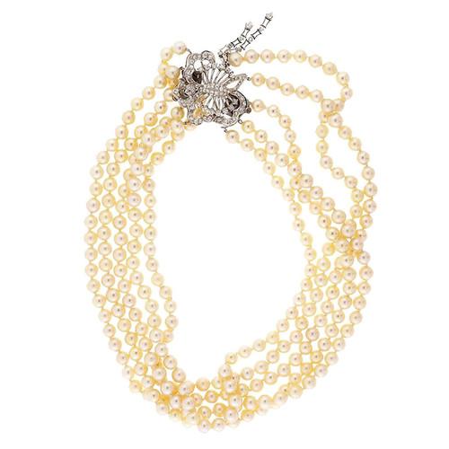 1.25 Carat Diamond Pearl White Gold Necklace