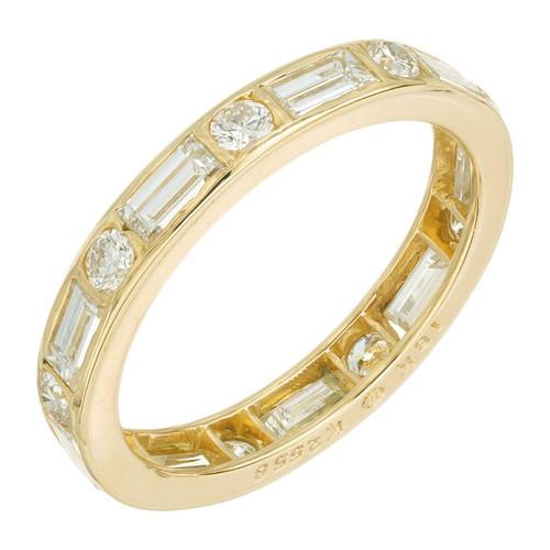 Oscar Heyman  18K .90CT Baguette .30CT Round Diamond Wedding Band Ring