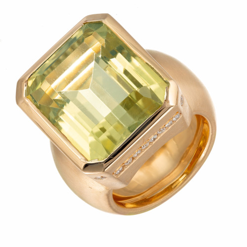 20.00 Carat Green Prasiolite Quartz Diamond Gold Cocktail Ring
