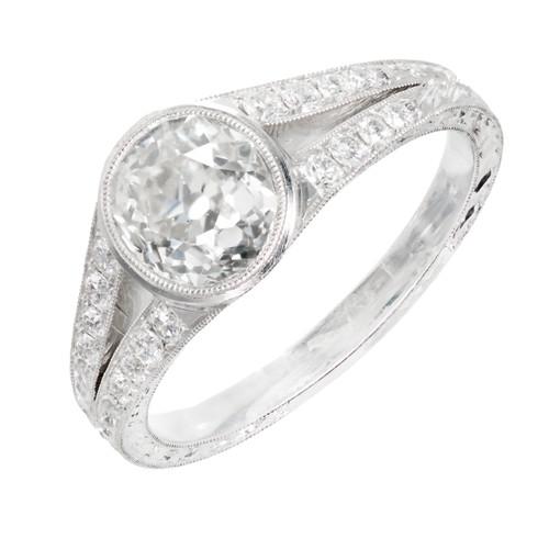 Edwardian 1.32 Carat Diamond  Platinum Engagement Ring