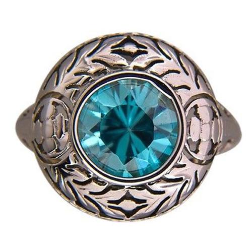 Vintage 1930s 3.05ct Bezel Blue Zircon 14k Gold Art Deco Filigree Engraved Ring