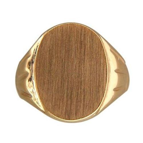 Vintage Yard Solid 14k  Brushed Gold Size 9 Signet Ring 18mm Wide American
