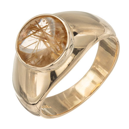 2.50 Carat Rutile Quartz Natural Yellow Dome Gold Ring