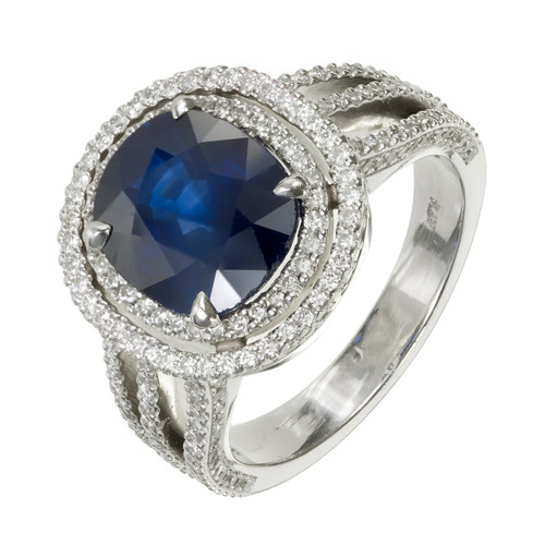 3.99 Carat Royal Blue Sapphire Diamond Platinum Ring