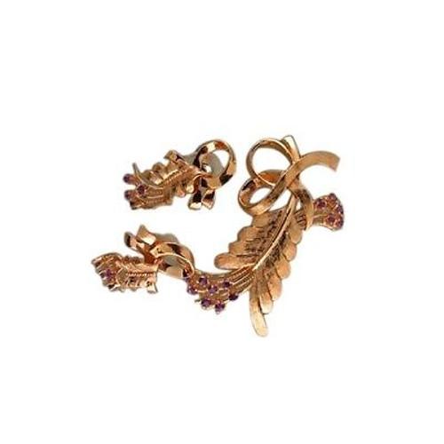 Vintage 14k Pink Gold 1940s Bright Purple Amethyst Flower Pin & Earrings Set