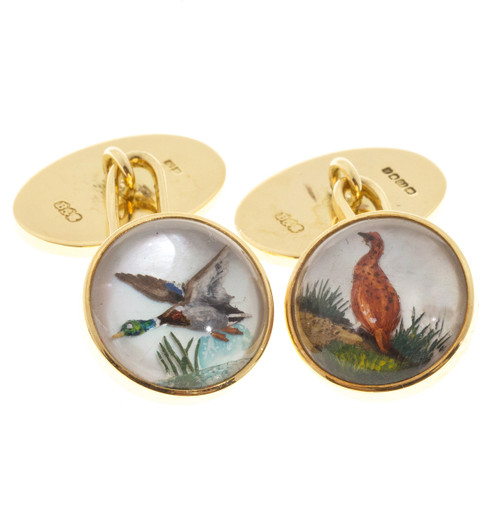 Vintage B + S 18k Reverse Carved Crystal Duck Pheasant Solid Gold Cufflinks