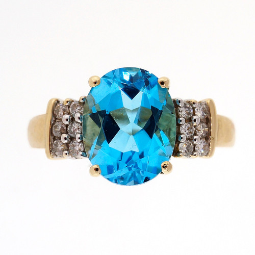3.50 Carat Blue Topaz Diamond Yellow Gold Ring