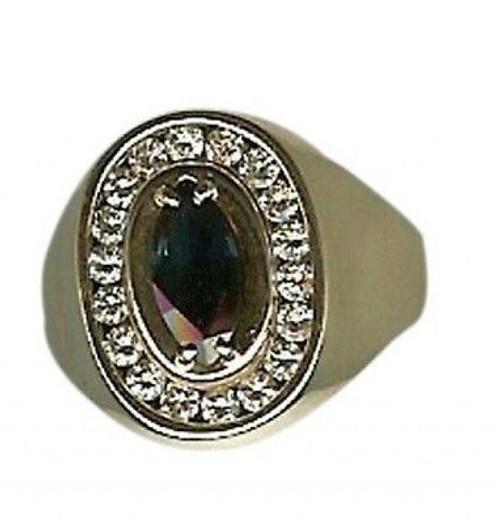 Estate 14k Gold Unique Large Marquise Blue Sapphire & Channel Set Diamond Ring