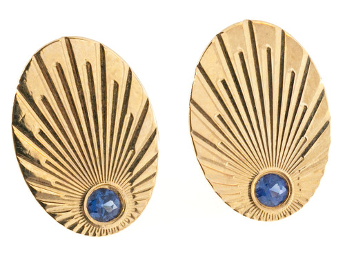 Vintage Larter & Sons Oval Cuff Links 14k Yellow Gold Natural No Heat Sapphires
