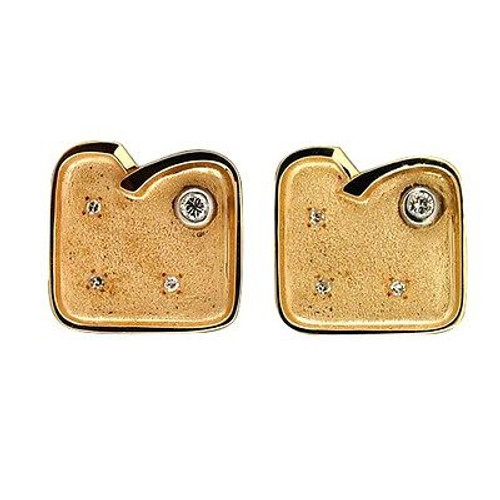 Estate Unique 1960s 14k Textured Yellow Gold Full/Single Cut Diamond Cufflinks