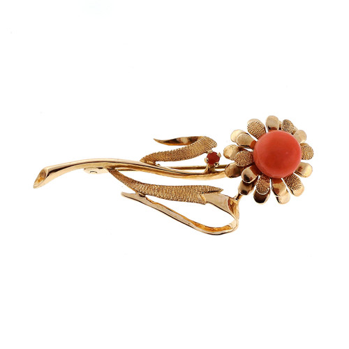 Art Deco Rose Gold Natural Coral Brooch