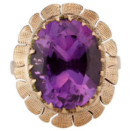 5.50 Carat Amethyst Rose Gold Art Deco Ring