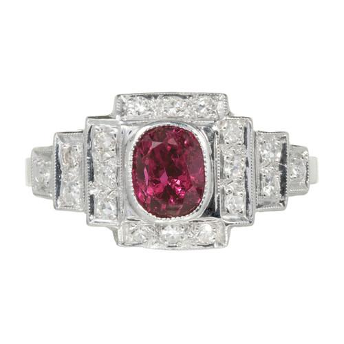 Antique Art Deco 1.04ct Platinum Natural Ruby Diamond Ring