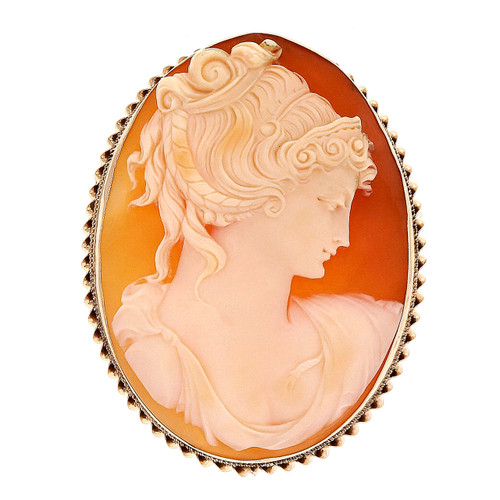 Hand Carved 48 x 36mm Shell Cameo Yellow Gold Brooch Pendant
