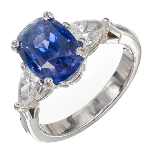 Vintage Natural Blue Violet Color Change 4.73ct Sapphire Diamond Ring