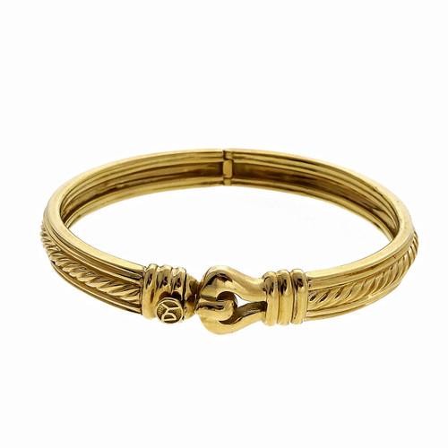 Vintage David Yurman Hinged 18k Gold Cable Hinged Bangle Bracelet