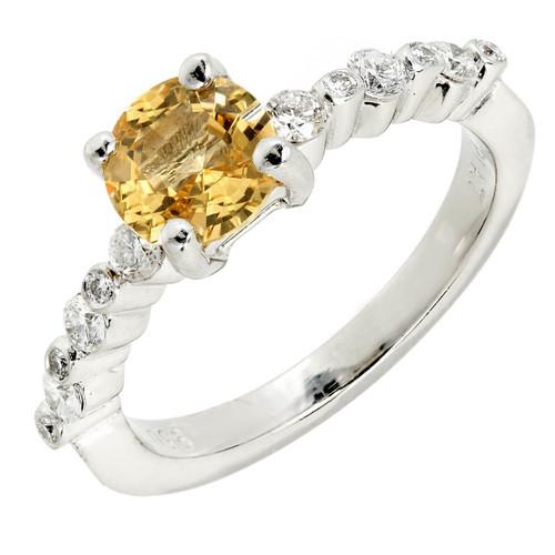Estate 1.05ct Natural Fancy Yellow Sapphire Platinum Diamond Ring