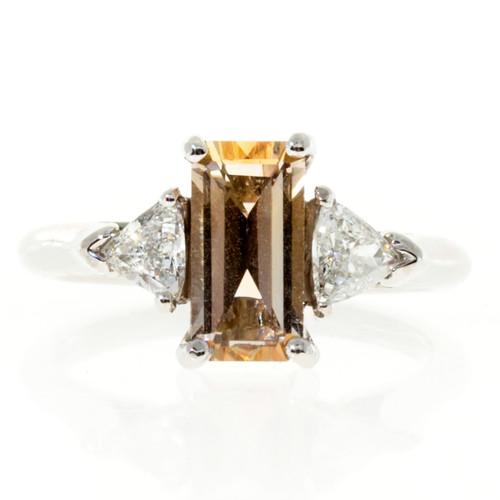 Vintage Certified Natural Light Orange Sapphire 1.44ct Step Cut Platinum Ring
