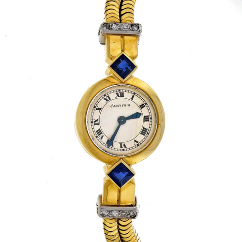 1950 Cartier Ladies Jaeger LeCoultre Rare Back Wind Gold Diamond Sapphire Watch