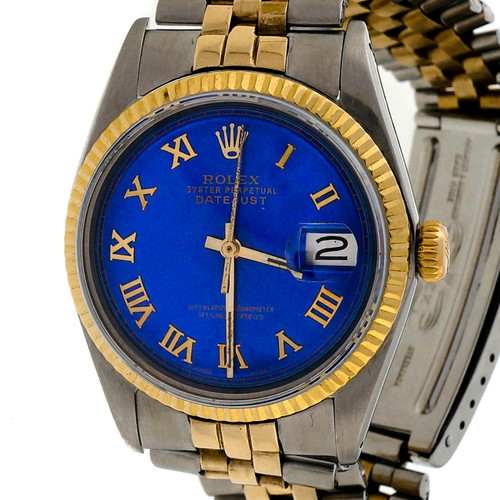 Vintage Rolex 1601 Gold And Steel Custom Colored Bright Blue Dial Wrist Watch