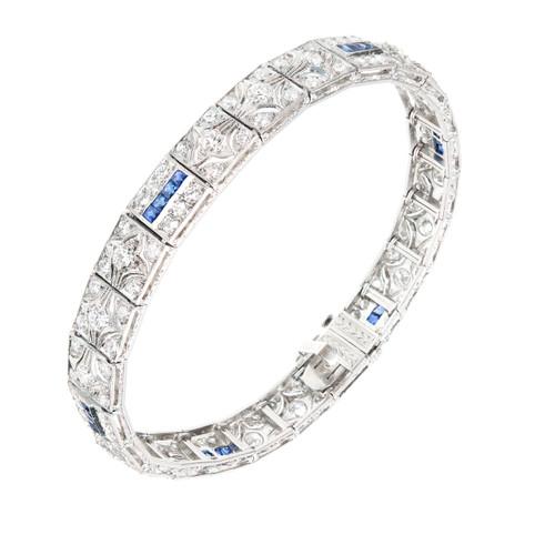 Vintage Art Deco Hinged Platinum Round Diamond Square Calibre Sapphire Bracelet