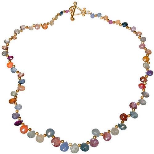 Robin Rotenier 23.00 Carat Multi Color Sapphire Yellow Gold Necklace