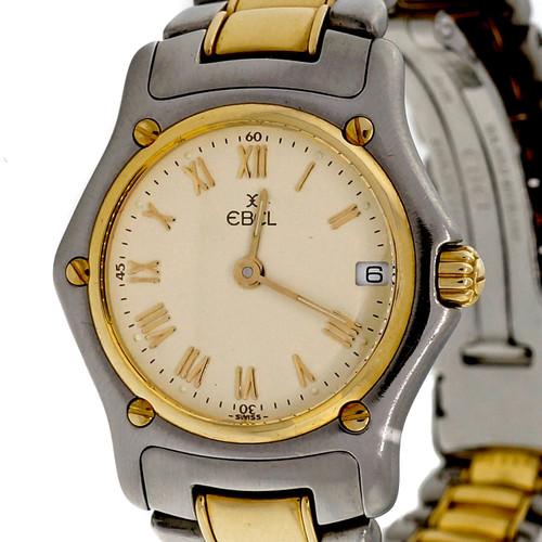 Ebel 1911 18k Gold Steel Ladies Wrist Watch Green Color Dial