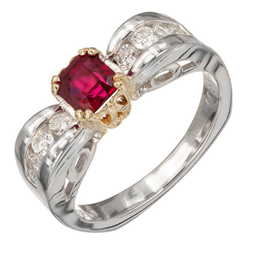 GIA Certified .75 Carat Ruby Diamond Gold Engagement Ring