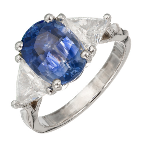 3.90 Carat Sapphire Diamond Platinum Three-Stone Engagement Ring