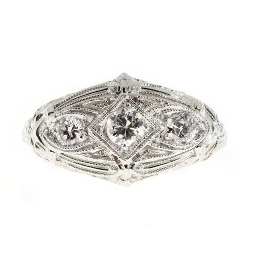Art Deco .40 Carat Diamond Platinum Ring