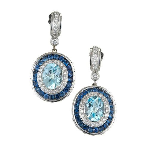 Charles Krypell 10.56 Carat Oval Aqua Sapphire Diamond Gold Dangle Earrings