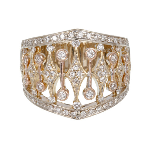 Parviz  .70 Carat Diamond White Yellow Rose Gold Diamond Band Ring