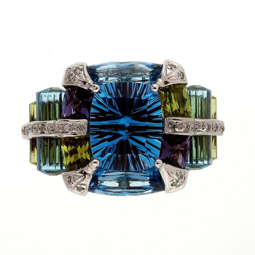 Bellari 12.00 Carat Blue Topaz Peridot Iolite White Gold Ring