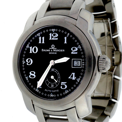 Baume & Mercier Black Dial Automatic Steel Capetown Wrist Watch