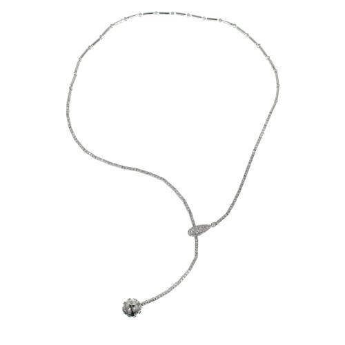 1.50 Carat Pave Diamond Ball Adjustable Gold Drop Pendant Necklace