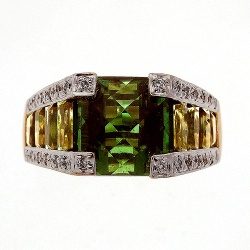 Bellari 8.02 Carat Tourmaline Diamond  Yellow Gold Ring