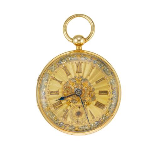 Fusee Chain Drive 1800's John Moncas 18k Tri Color Gold Dial Pocket Watch