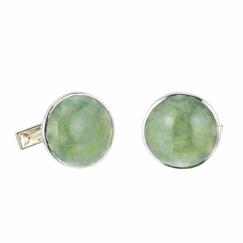GIA Certified Round Jadeite Jade Gold Men's Cufflinks
