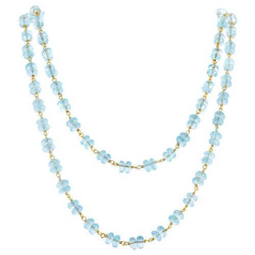 70.00 Carat Carat Blue Topaz Faceted Rondelle Brioletts Bead Gold Necklace