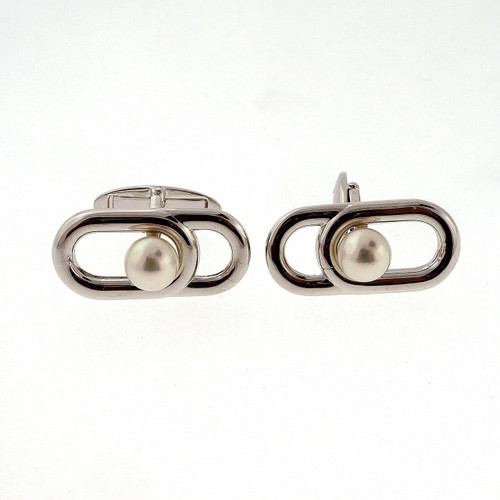 Vintage Estate 6mm Mikimoto Cultured Pearl Silver Cufflinks