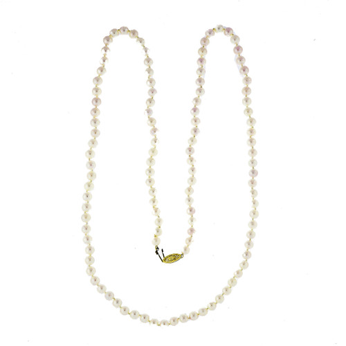 Vintage 6mm To 6.5mm 113 Japanese Akoya Cultured Pearl 30 Inch Necklace