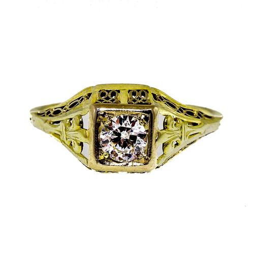 Antique Art Deco Old European Diamond Engagement Ring .33ct 14k White Gold