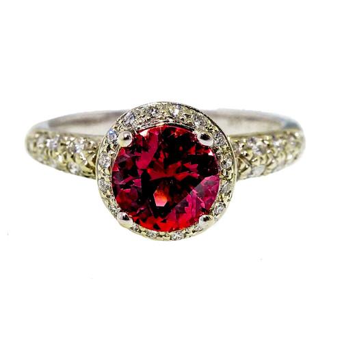 Rare Krementz Certified 1.37ct Orange Pink Sapphire Diamond 18k White Gold Ring